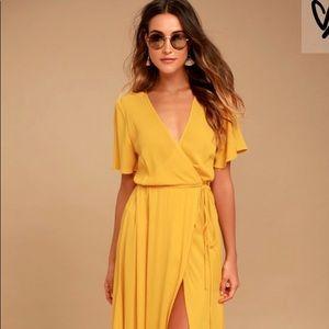 Much Obliged Golden Yellow Wrap Maxi Dress